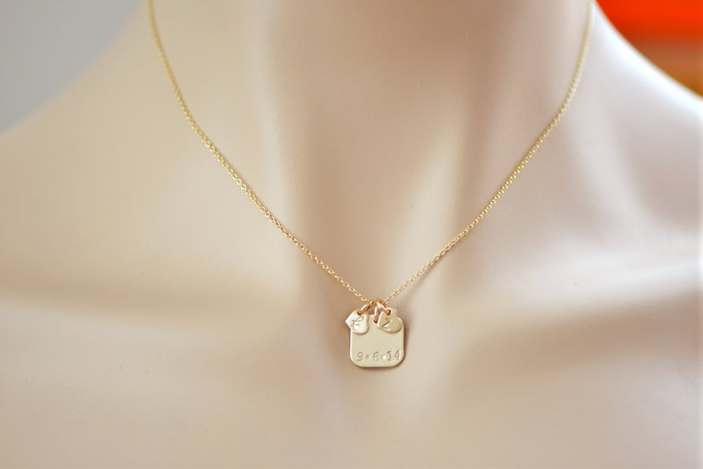 Image of 14k Gold Filled Initial Tag- Couple's Necklace - Wedding Date Necklace