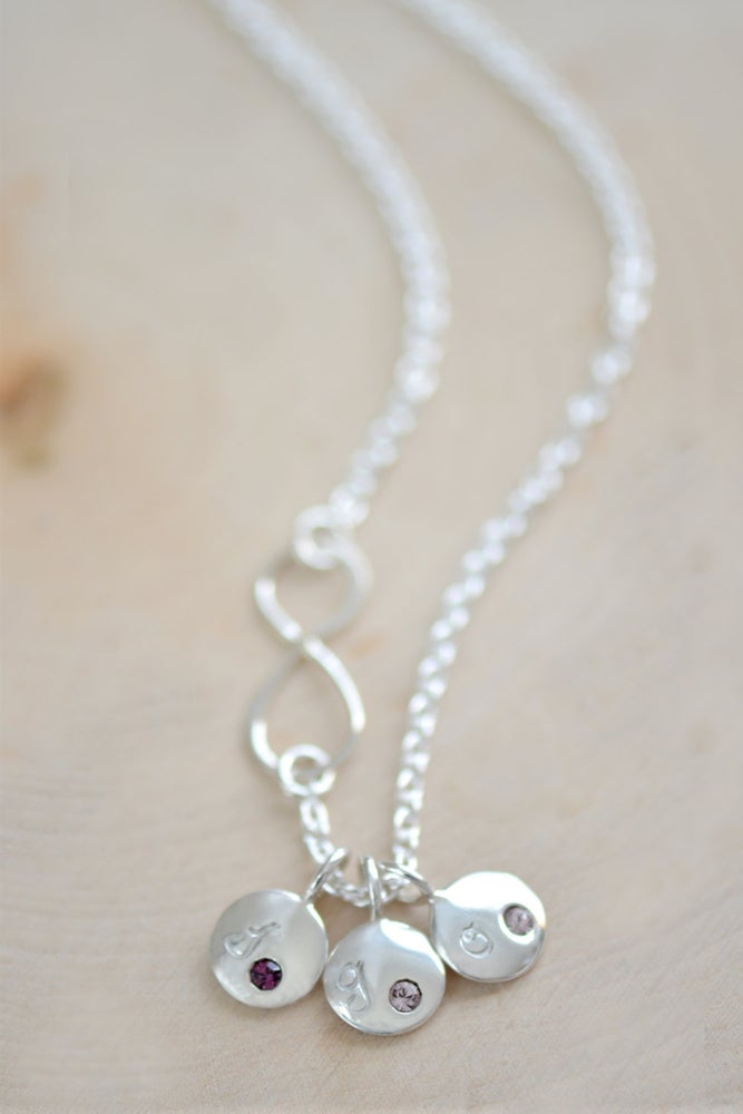 Image of Sterling Silver Infinity Necklace with Initial Birthstone Charm
