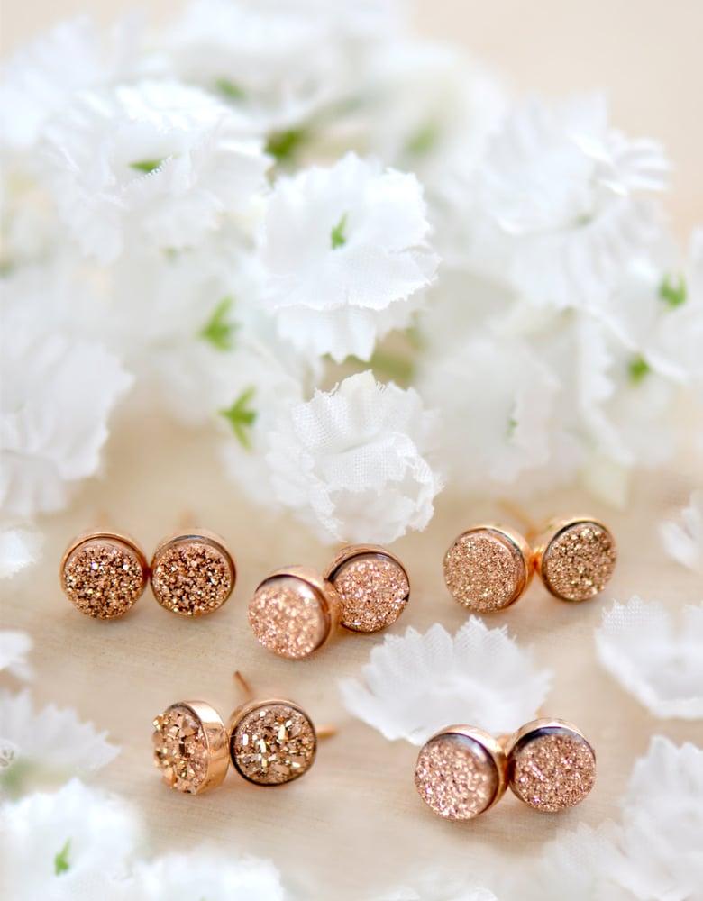 Image of Tiny Rose Gold Druzy Studs , Rose Gold Druzy Bezel Studs
