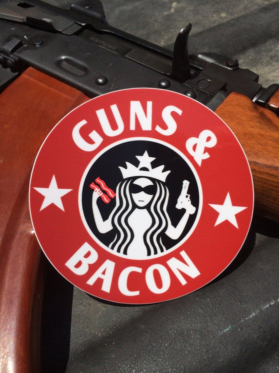 Image of Guns and BACON decal 4""