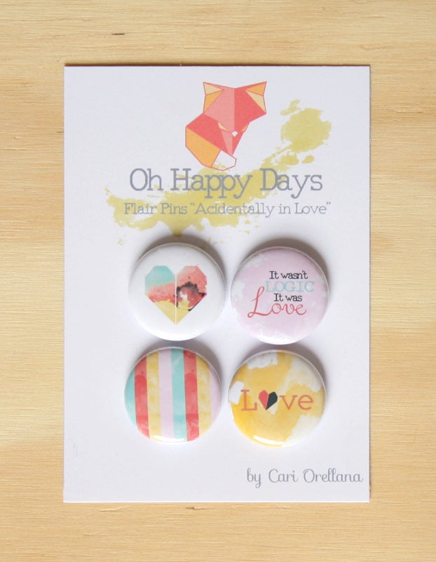"Image of Flair Pins ""Accidentally in Love"" Scrapbooking Project Life Decoration"