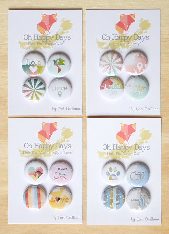Image of Flair Pins 4 sets Scrapbooking Project Life Decoration