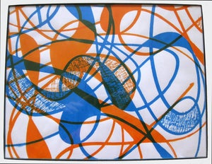 Image of MJL Framed 'Orange Blue Blind Swirls' Screen Print