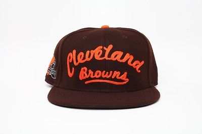 Image of New Era Cleveland Browns Leather Strap Back Cap