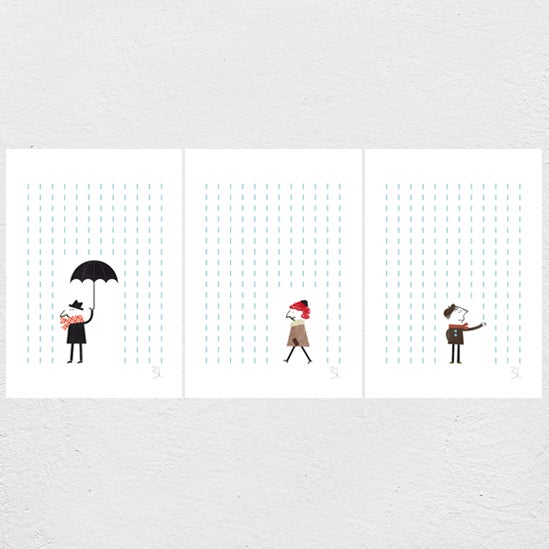Image of It's Raining Set of three Prints