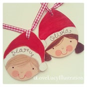 Image of Personalised Wooden Santa Hat Decoration