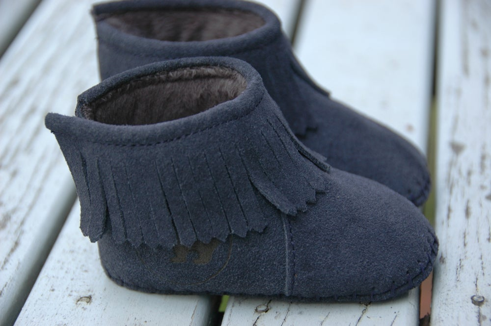 Image of Deep Blue Suede Bootie Moccasins