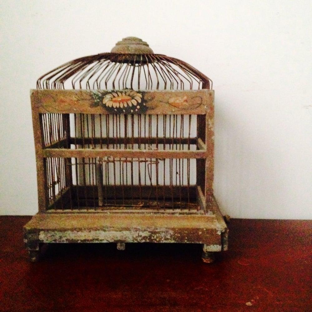 Image of Vintage wooden birdcage