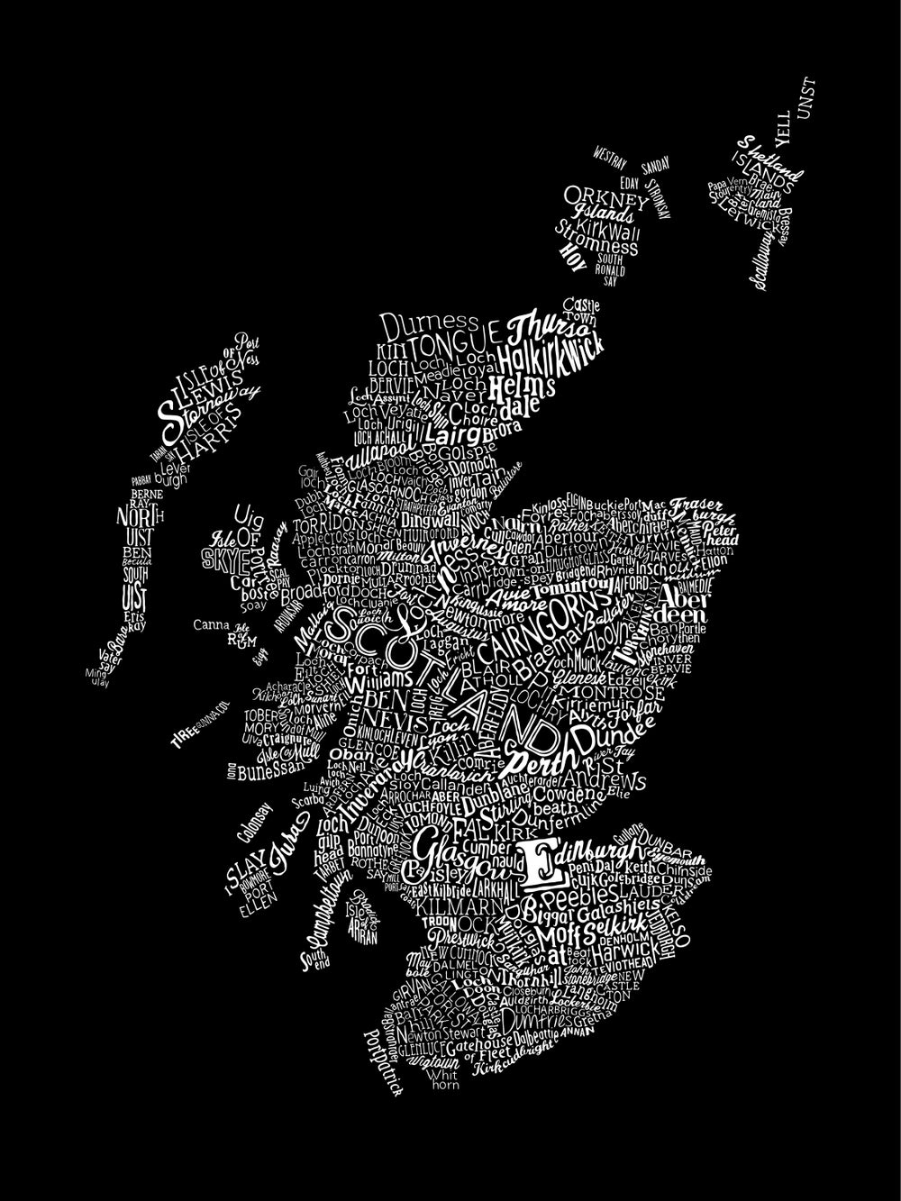 Scotland Type Map (Black)