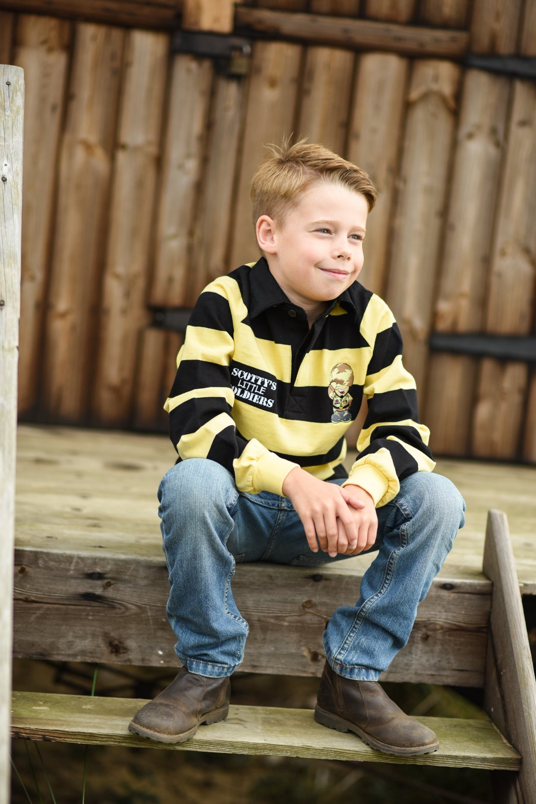 Image of Kids Rugby Shirt - Black & Yellow
