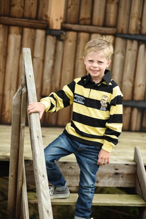 Image of Children's Hooped Rugby Shirt - Black & Yellow