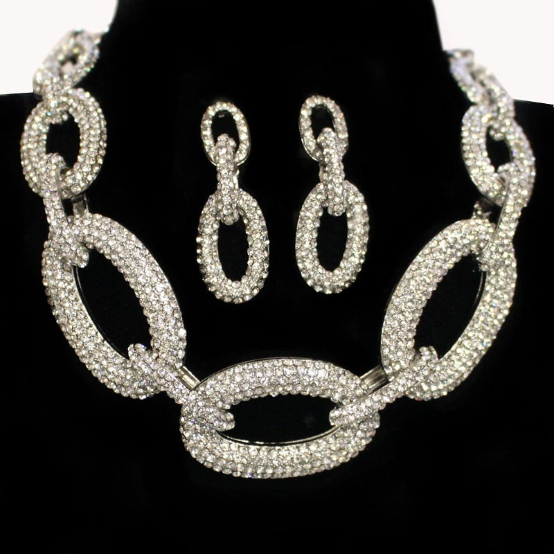 Image of Rhinestone Studded Necklace Earring Set