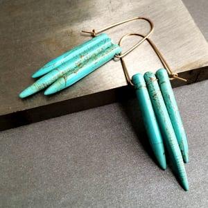 Image of Turquoise Dagger Fringe Hoops