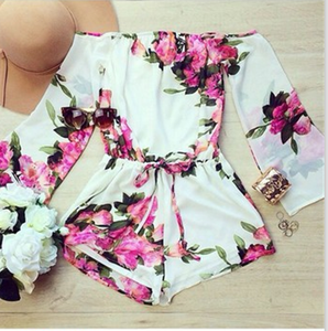 Image of Fashion one word flower jumpsuit HIGH QUALITY
