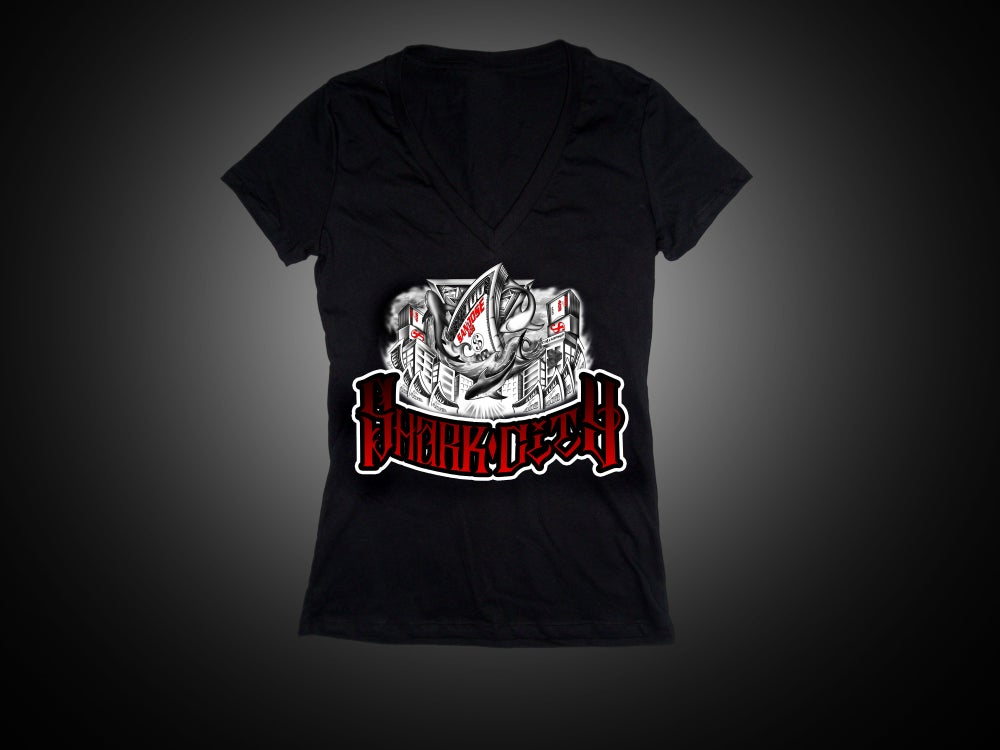 Image of Ladies - Shark City 2 Black Vneck