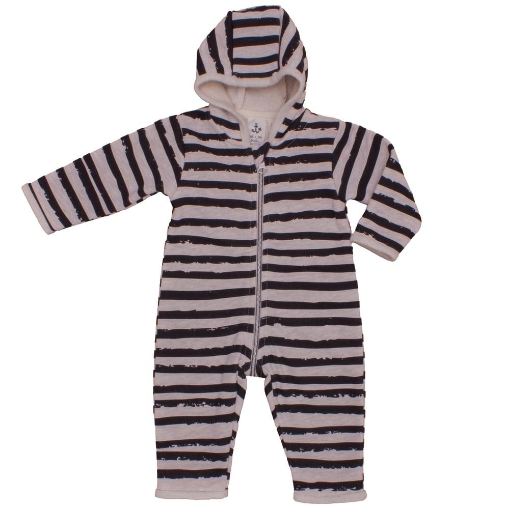 Image of Jumpsuit à capuche bébé garçon Noé&Zoé à rayures
