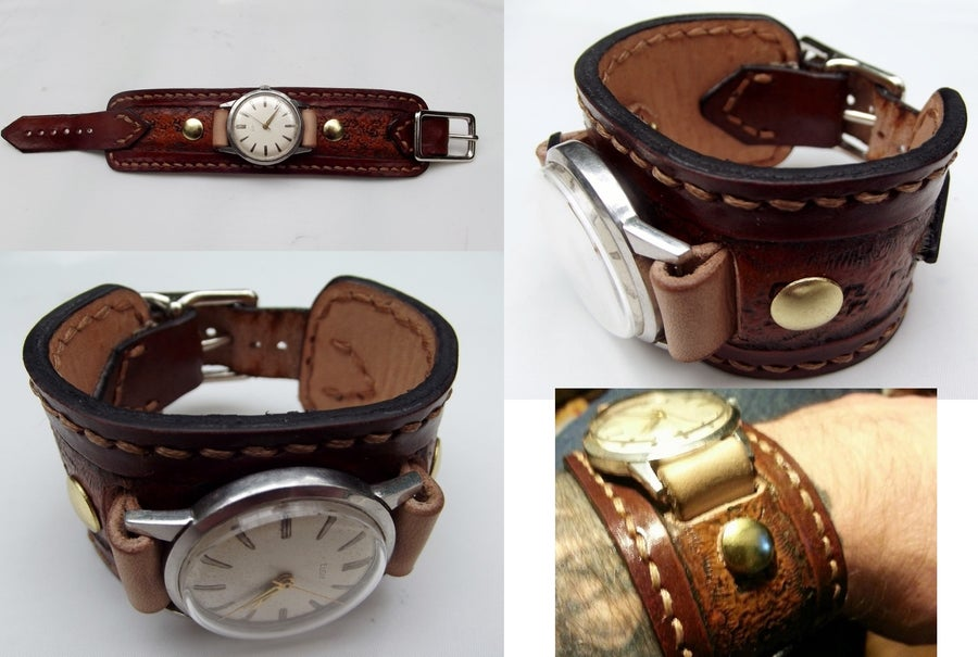 Image of Custom Hand Tooled Leather Watch Band Cuff. Your image/design or idea.