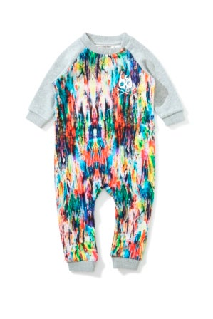"Image of Jumpsuit arty gris multicolore bébé garçon Munsterkids ""Rollin In It"""