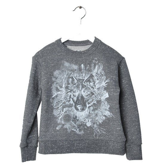 "Image of Sweat-shirt bébé garçon Hebe ""Matiss"" loup gris chiné"