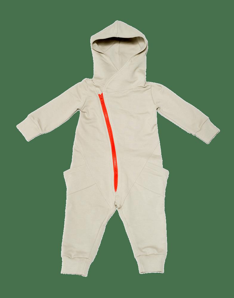 Image of Combinaison jumpsuit à capuche bébé garçon Gugguu beige zippé orange