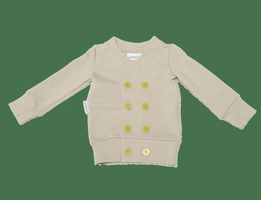 "Image of Cardigan croisé bébé garçon Gugguu ""Tataricum"" beige à boutons verts"