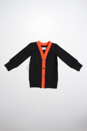 "Image of Cardigan bébé garçon Gugguu ""Rubrum Collar"" noir et orange"