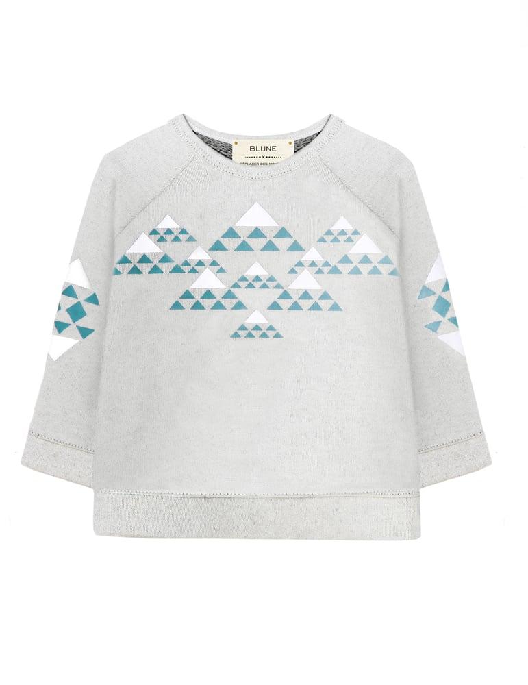 """Image of Sweat-shirt col rond bébé garçon Blune """"Déplacer des Montagnes"""" gris"""