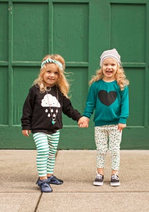 Image of ORGANIC COTTON STRIPED CUFFED LEGGINGS - Emerald