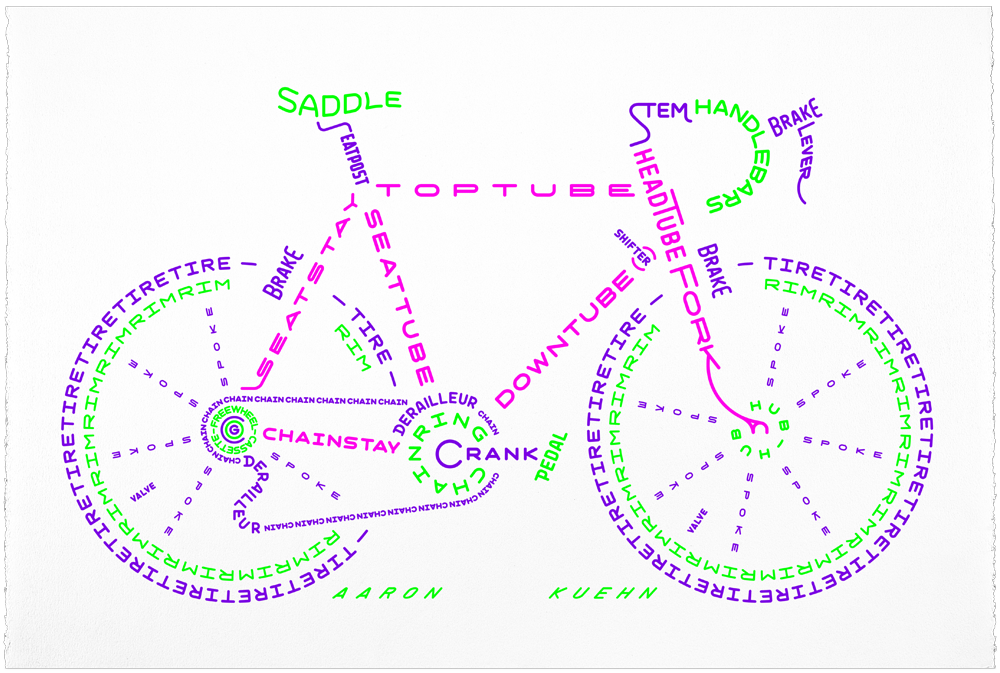 Image of Bicycle Typogram - 3-color Print