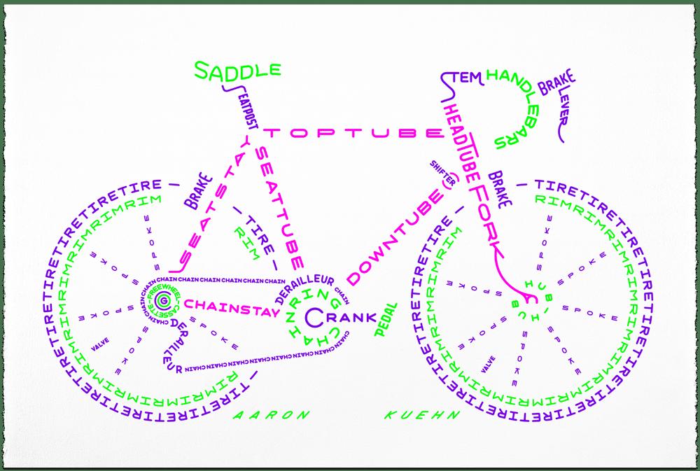 Image of Bicycle Typogram - 3-color Print