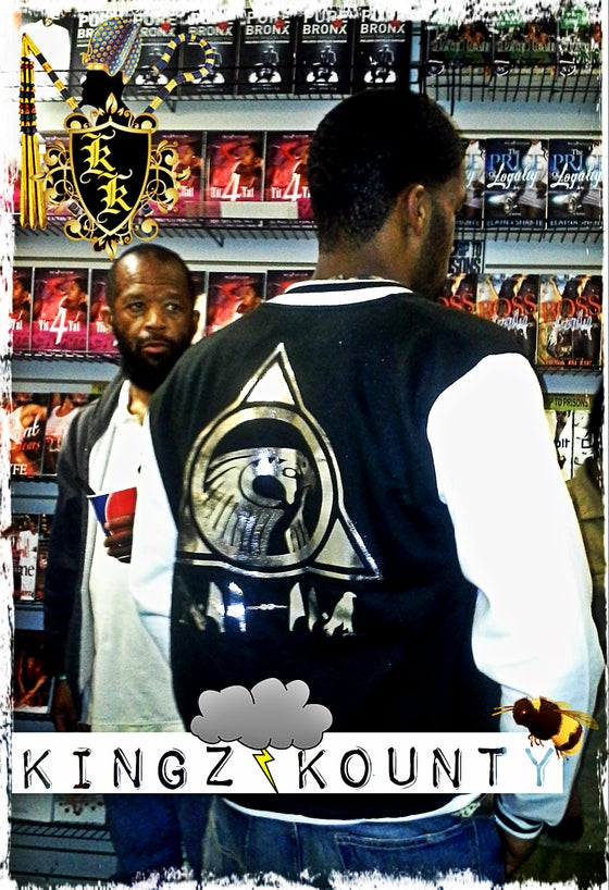 Image of BLACK/SILVER KINGZ KOUNTY VARSITY JACKET