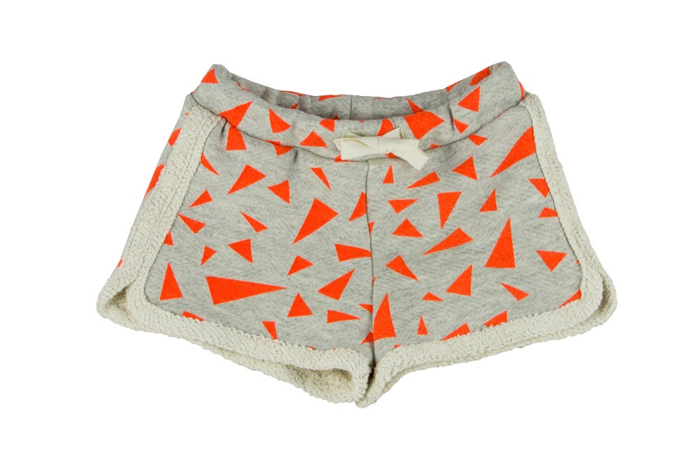 Image of Short bébé garçon Noé & Zoé triangles orange fluo