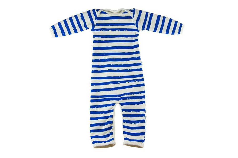 Image of Grenoullière sans pieds bébé garçon Noé & Zoé à rayures bleues