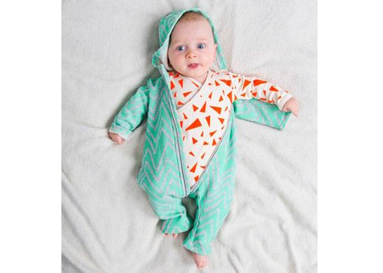 Image of Body manches longues bébé garçon Noé & Zoé triangles orange fluo