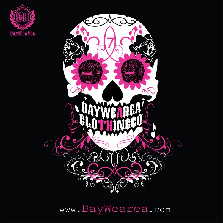 Image of Day of the Dead Breast Cancer Awareness Mens Tee Shirt