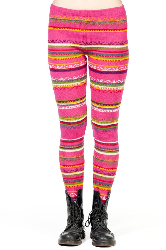 Image of WOOLEN LEGGINGS fuchsia