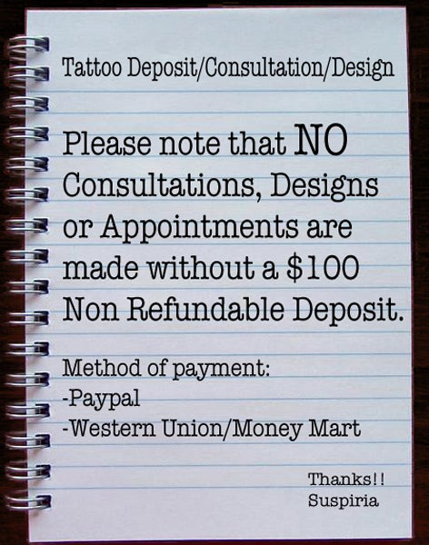 Image of Tattoo Deposit/Consultation