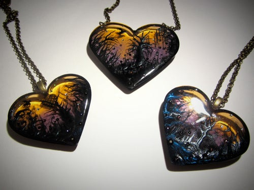 Image of Autumn Lights Transparent Resin Heart Pendant