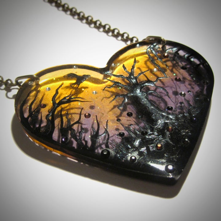Image of Autumn Lights Transparent Resin Heart Pendant