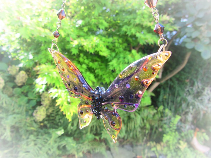Autumnal Large Butterfly Resin Necklace