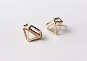 Image of  14k Yellow Gold Diamond Structure Posts