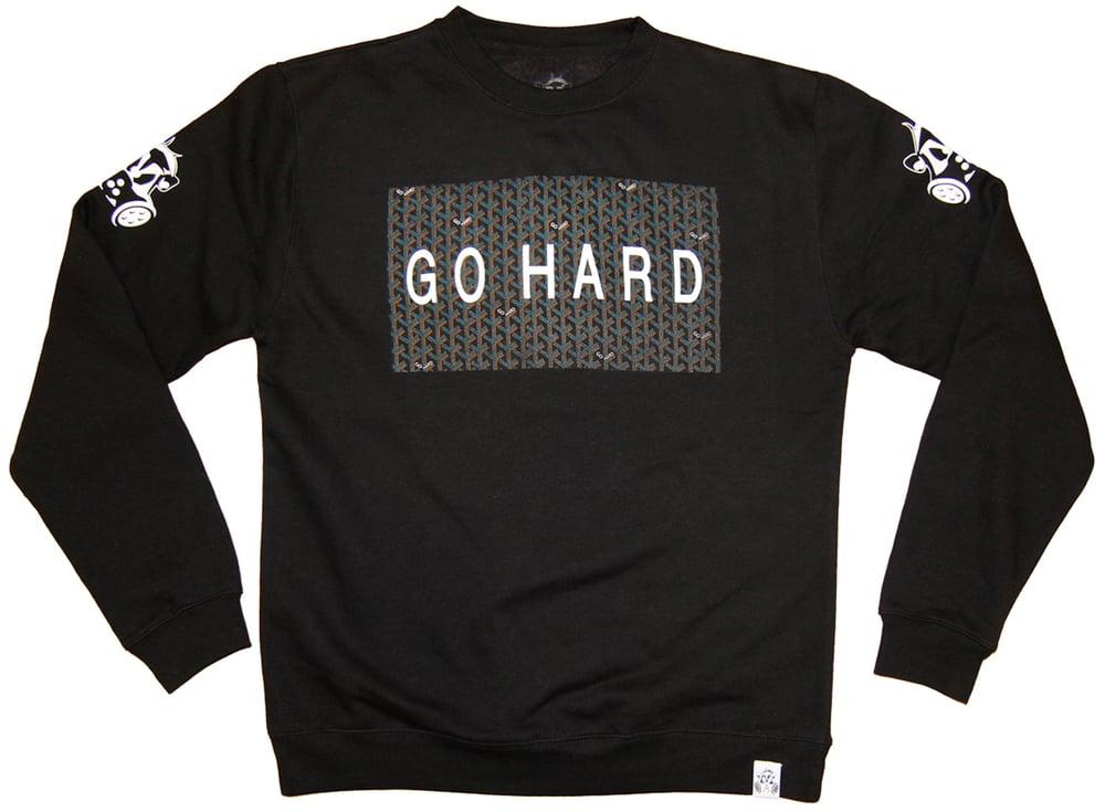 Image of GO HARD CREW SWEATSHIRT   BLACK