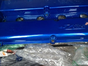 Image of Ford Focus Zetec RS Candy Blue Valve Cover + Carbon Fiber Spark Cover