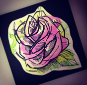 "Image of (Medium) ""Mini"" PINK Watercolor Rose painting"