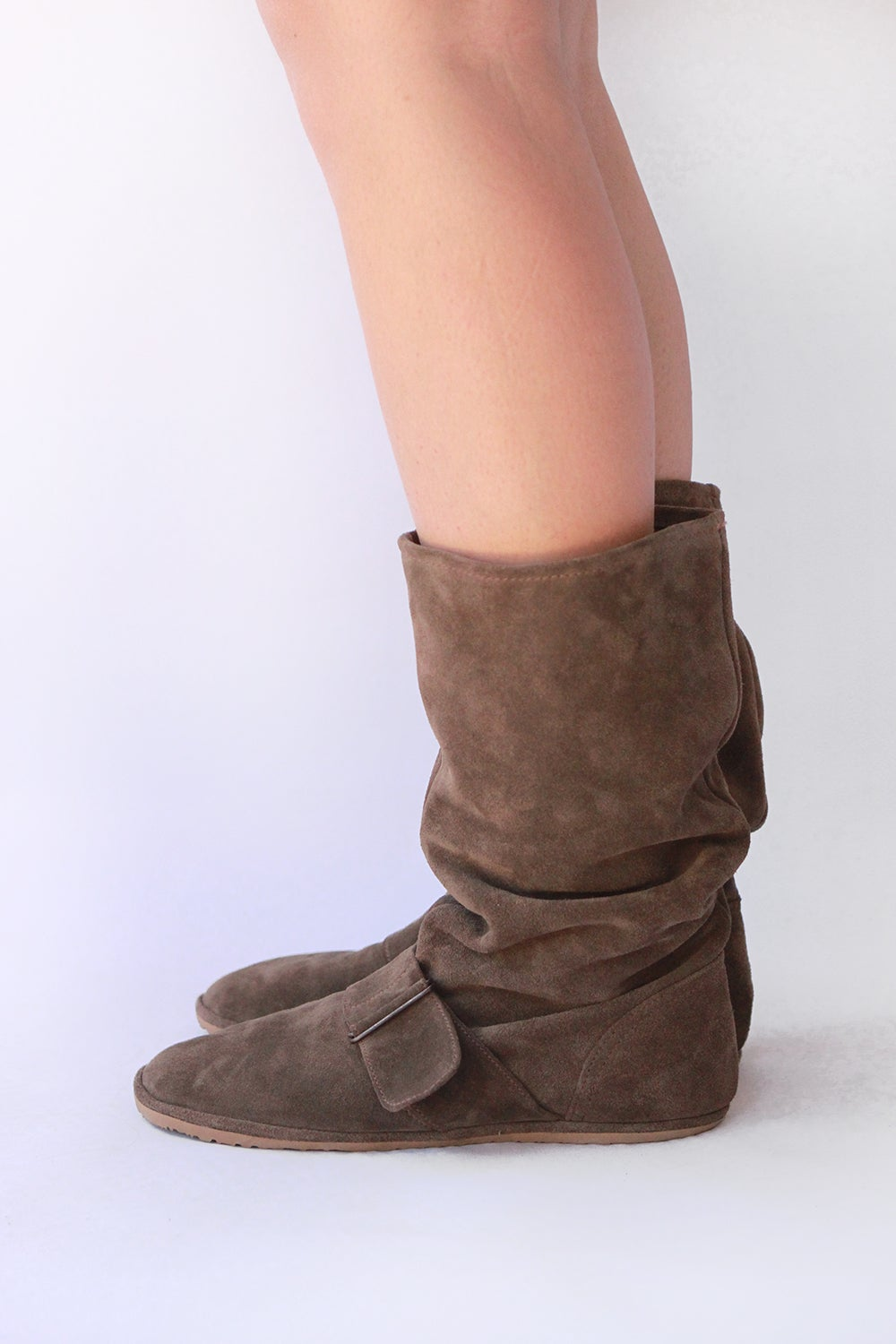 Image of Slouchy Boots in Light Brown suede