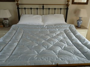 Image of Dupion  Ice Blue Double  Silk Eiderdown With Buttons!