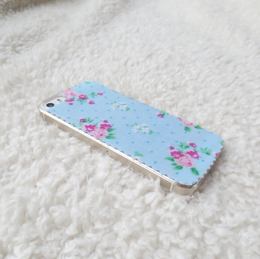 Image of Blue polkadot floral fabric phone case for iPhone 5/5s