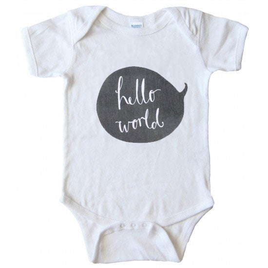 Image of 'Hello World' Newborn Bodysuit