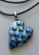 Image of Dichroic Heart Pendant on Leather necklace