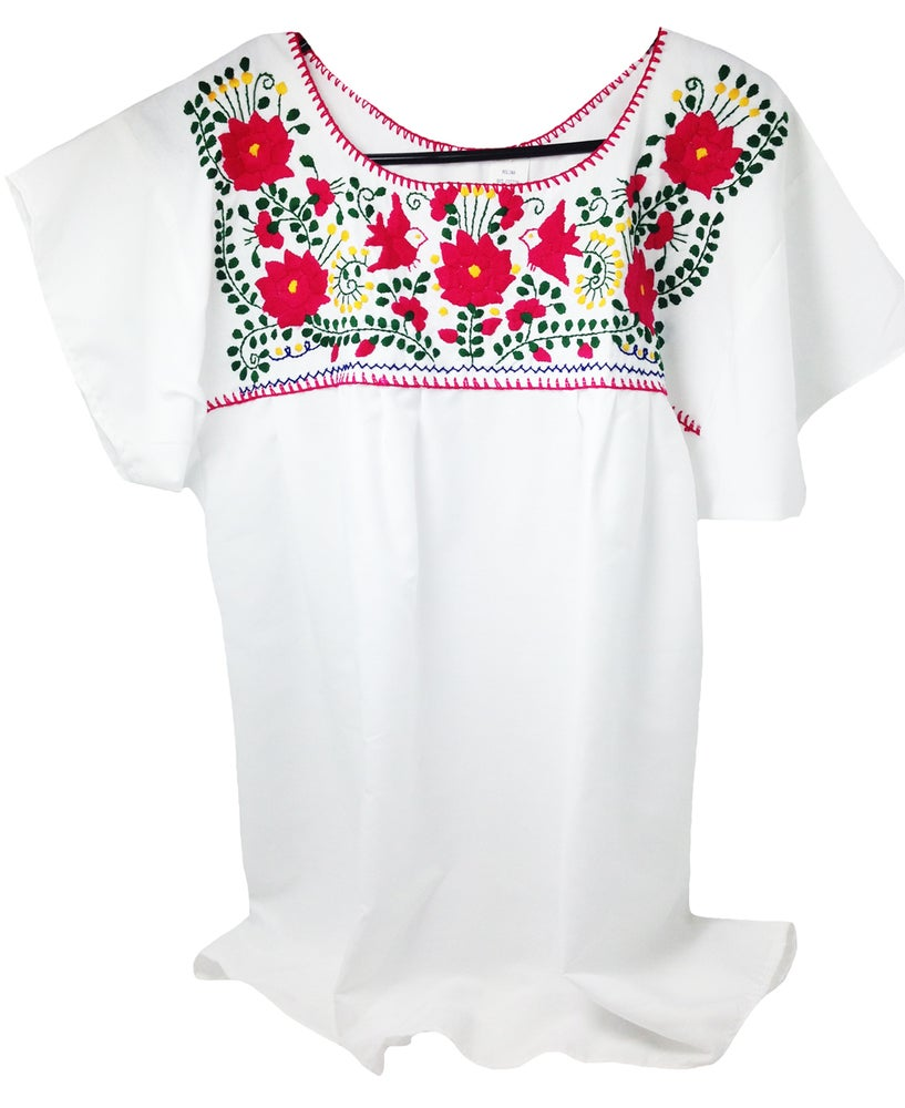 0c24d2393a37da White Hot Pink Mexican Embroidered Blouse-Medium   Hello Zamora